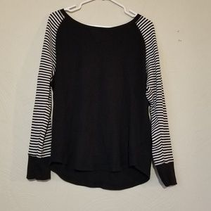 Black and white striped sleeved shirt